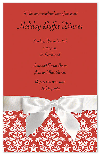 Red Holiday Lace Party and  Event Invitation