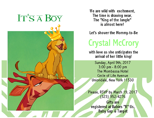 #3 Lion King Prince Baby Shower Invitation