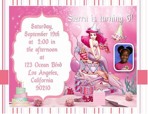 Pink Little Mermaid Birthday Party Invitation