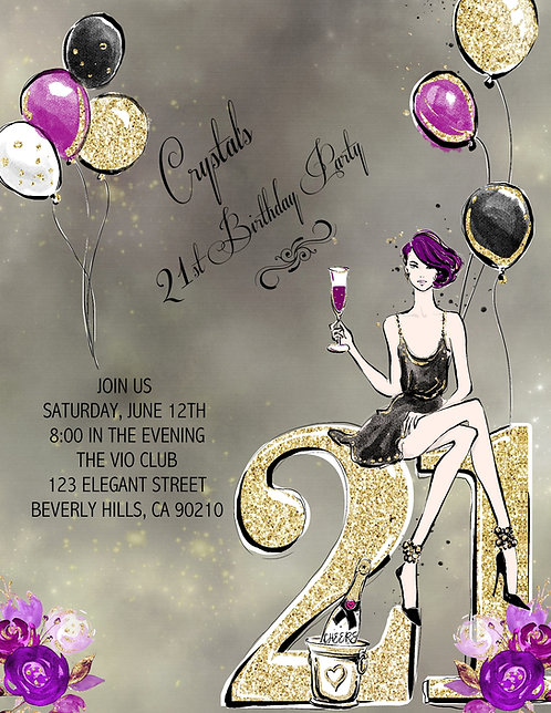 21st Birthday Party Purple Hair and  Event Invitation (sold in sets