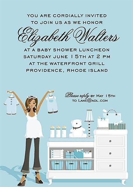 Blue Changing Table Afro-American Baby Shower Invitation