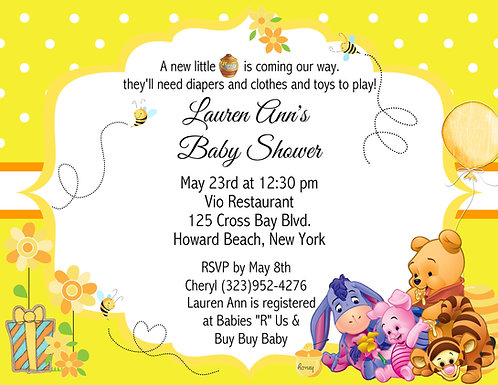 Pooh Honey Bee Baby Shower Invitation