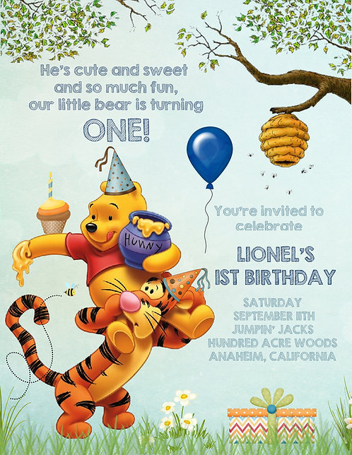 Tigger and Pooh Birthday Invitation (sold in sets of 10)