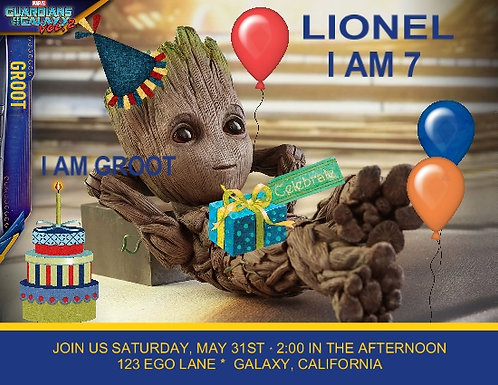 I am Groot Birthday Party Invitation