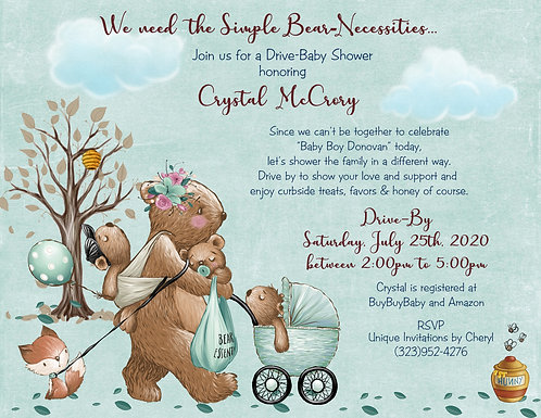 Bear-Necessities Drive-By Baby Boy Shower Invitations (sets of 10)