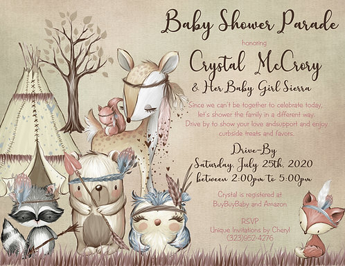 Boho Woodland Drive-By Girl Baby Shower Invitations (sold in sets of 10)