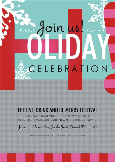 Snowy Celebration Holiday Party and  Event Invitation