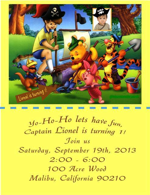 Pooh Pirate Adventure Birthday Party Invitation