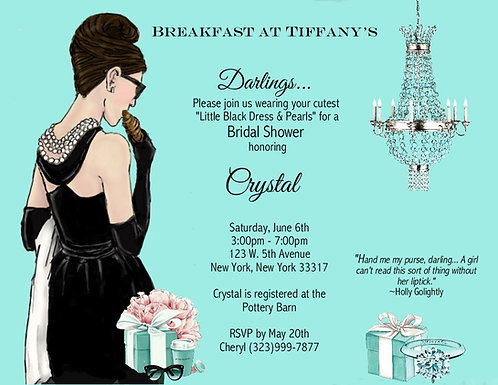 Breakfast at Tiffany Bridal Shower Party and  Event Invitation