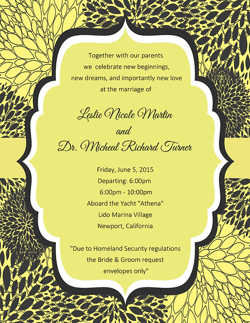 Yellow and Grey Floral Wedding / Bottle Invitation