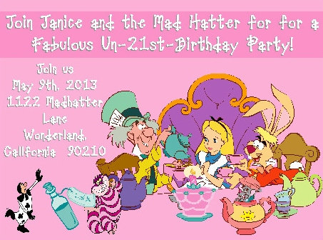 Alice in Wonderland Tea Birthday Party and  Event Invitation