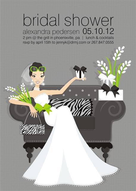 Zebra Brunette Bride Bridal Shower and  Event Invitation