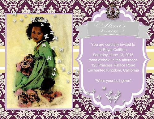Ebony Princess Invitation Birthday Party Invitation