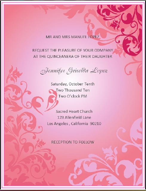 Quinceanera Pink Fluff / Event Invitation