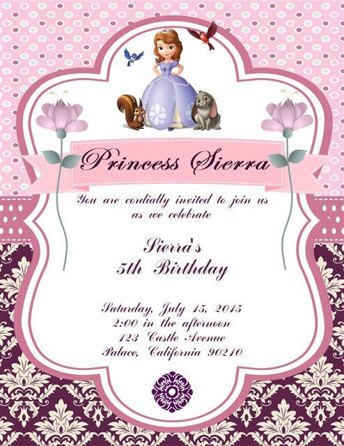 Princess Sofia Birthday Party Invitation