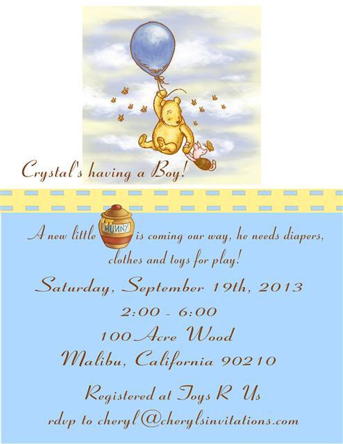 Baby  Pooh Boy Baby Shower Invitation