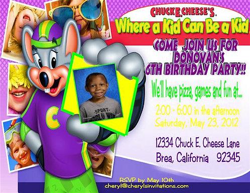 Chuck E. Cheese Birthday Party Invitation