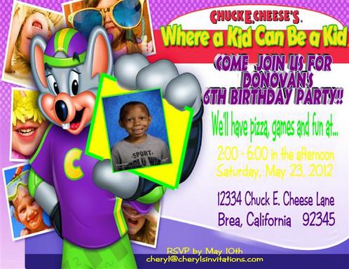 Chuck E Cheese Birthday Party Keepsake Bottle Invitation Cards