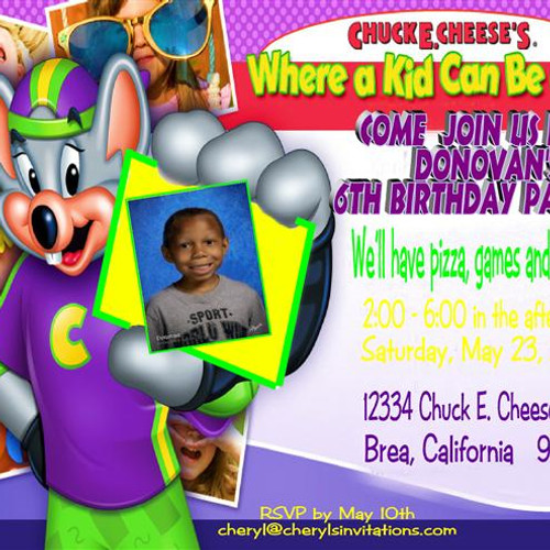 Boys Birthday Parties EventsUnique Invitations by Cheryl – Chuck E Cheese Birthday Party Invitations