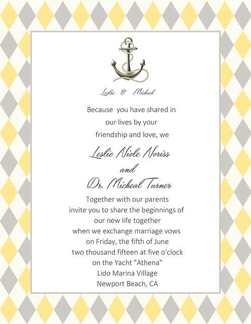 Anchor Wedding / Event Invitation