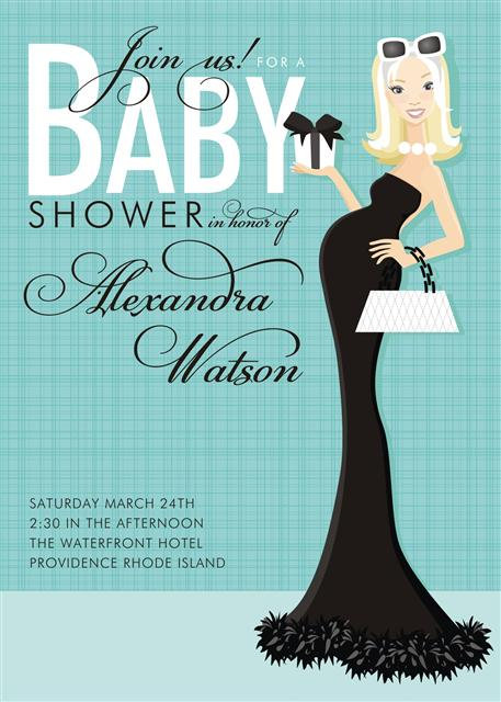 Blonde Beautiful in Baby Blue Shower Invitation