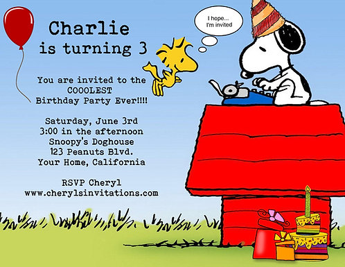 Snoopy Birthday Party and  Event Invitation (sold in sets of 10)