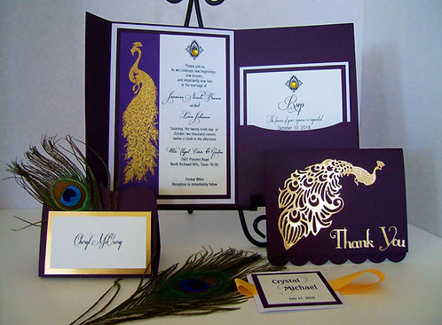 Golden Peacock Pocketfold Invitation