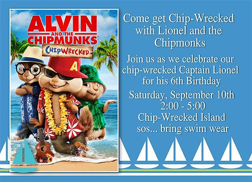 Alvin Chipmonks Chipwrecked Birthday Party Invitation