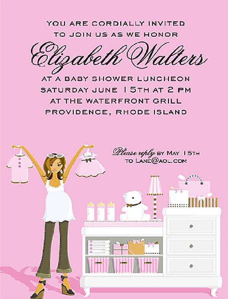 Pink Changing Table Baby Shower Invitations