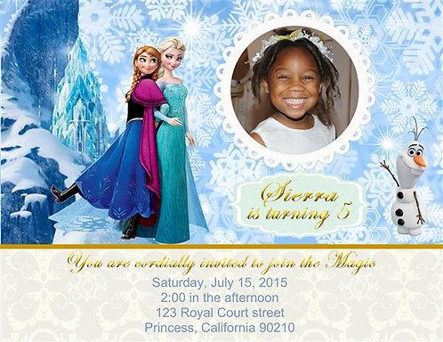 Frozen Elsa and Anna Birthday Party Invitation