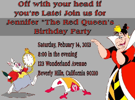 The Red Queen Birthday Party and  Event Invitation