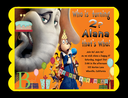 Horton Hears A Who Birthday Party Invitation