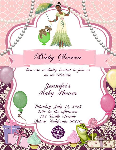 Princess and the Frog  Baby Shower Invitations