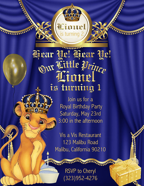 Little Prince Lion King Birthday Party Invitation