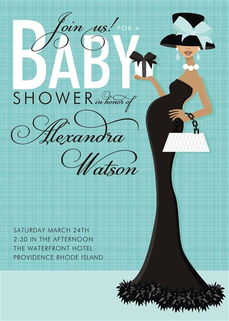 Blue Formal African American Baby Invitations