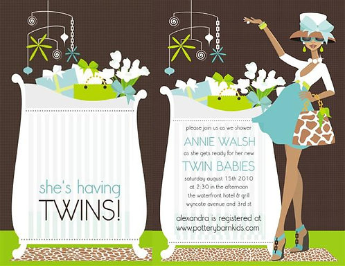 Blue Chic Mom Twins African American Keepsake Baby Bottles & Invitations