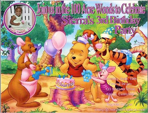Winnie the Pooh Cake Birthday Party Invitation