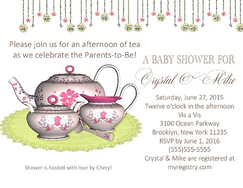 #4 Tea Party Baby Shower Invitation