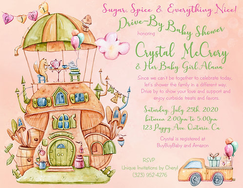 Sugar, Spice & Everything Nice Drive-By Girl Shower Invitations (sets of 10)