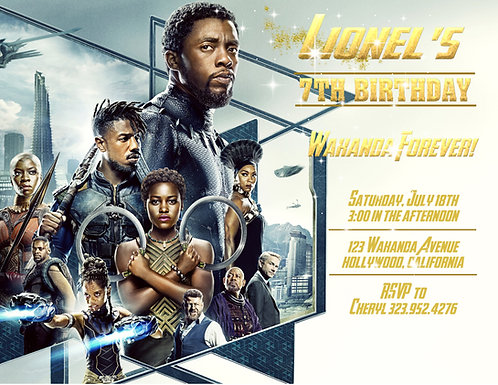 Black Panther Wakanda Forever Party and  Event Invitation (sold in sets of 10)