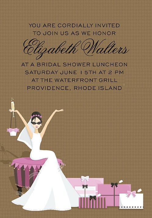 Glamour Girl Bridal Shower and  Event Invitation