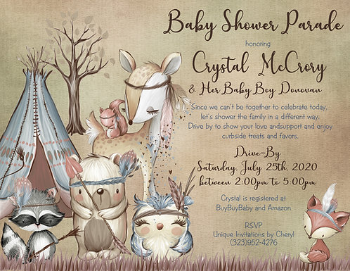 Boho Woodland Drive-By Boy Baby Shower Invitations ( sets of 10)