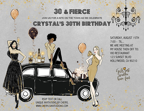 Out on the Town Birthday Party Invitation (sold in sets of 10)