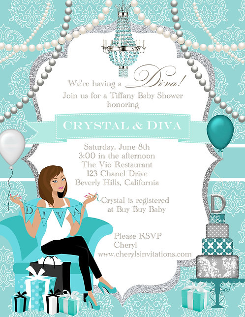 Tiffany Diva Too Baby Shower Invitations (sold in sets of 10)