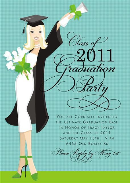 Blonde Glamour Girl Grad Party and  Event Invitation