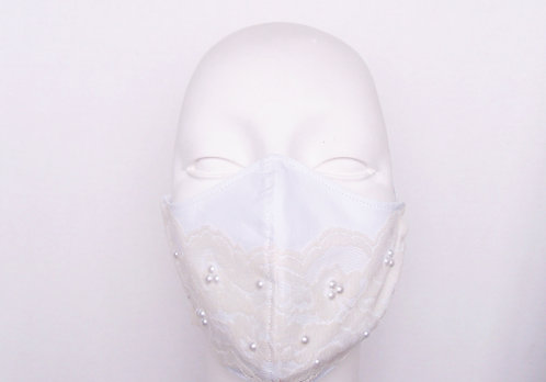 Bridal Lace with Pearls Contoured Face Mask  with Filter Pocket
