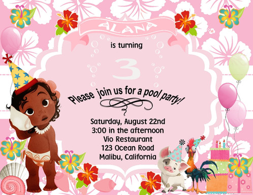 Baby Moana Birthday Party Keepsake Bottle Invitation Cards