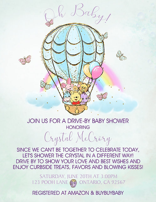 Pooh Rainbow Drive-By Baby Shower Invitations (sold in sets of 10)