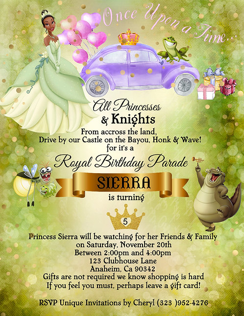 Princess Tiana's Drive-By Birthday Party Invitation (sold in set of 10)