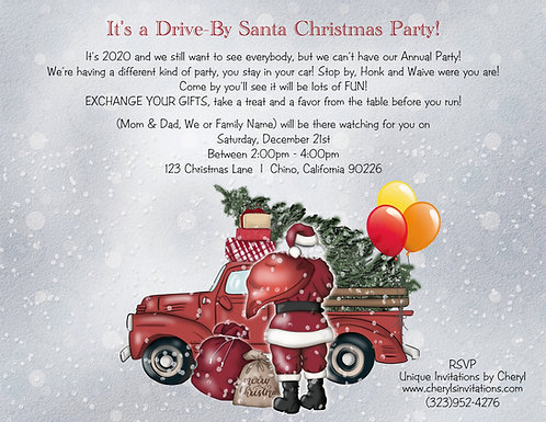 Santa Holiday Drive By Gift Exchange Invitation (sold in sets of 10)